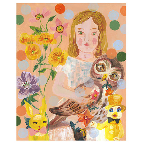 Girl with owl Print