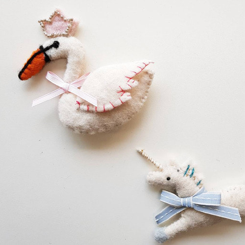 Swan & Unicorn brooch