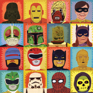 Heroes and villains wrap print