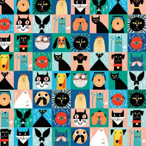 Cats and Dogs wrap print