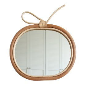 Rattan Apple Mirror