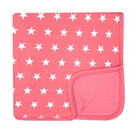 65% Flamingo Pink & White Star Blanket