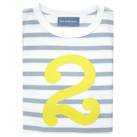 Grey & White Breton Striped Number 2 T Shirt (Yellow)