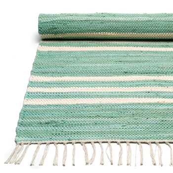 Pale green offwhite stripe Rug