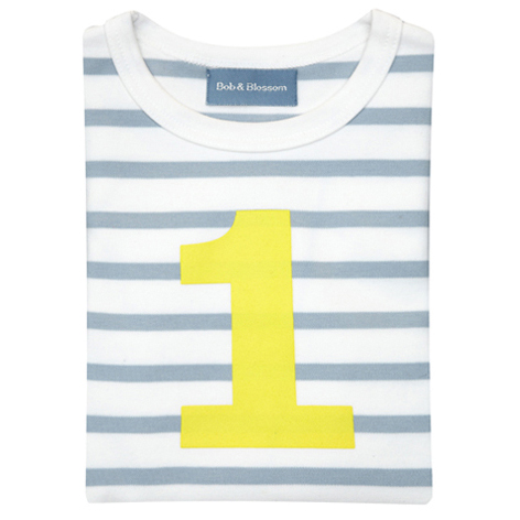 Grey & White Breton Striped Number 1 T Shirt (Yellow)
