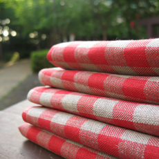 Red cross French torchon 100% Organic Linen