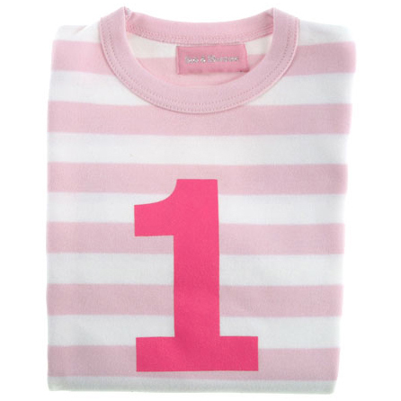 Pale Pink & White Striped Number 1 T Shirt
