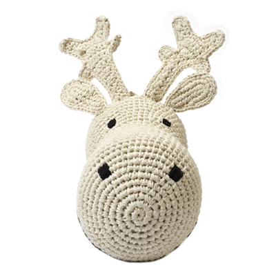 Deer head wall deco Cream Crochet