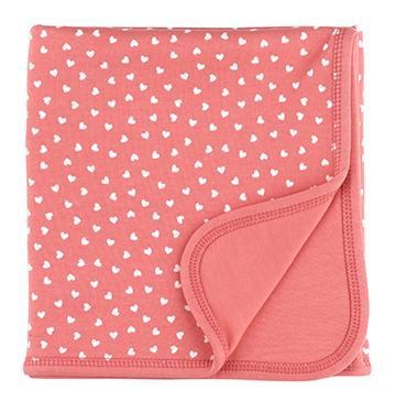 Flamingo & White Little Hearts Blanket