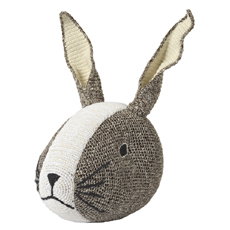 Rabbit head wall deco Brown Crochet
