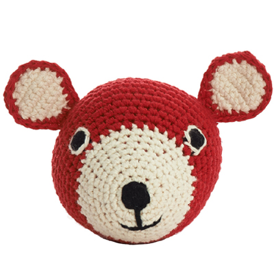 Mini Teddy Head Crochet (Red)