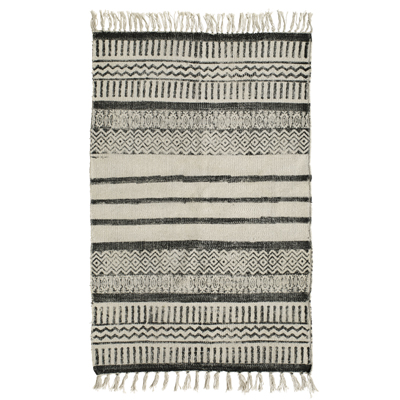 Denmark Gray Cotton Rug (Stripe)
