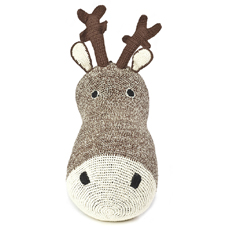 Deer head wall deco Brown Crochet