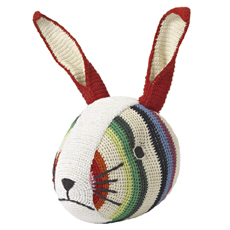 Color rabbit head wall deco Hand Chrochet 100% Organic Cotton