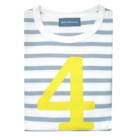 Grey & White Breton Striped Number 4 T Shirt (Yellow)