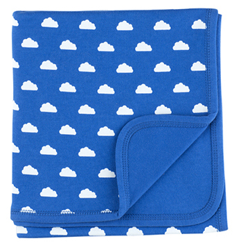 Ink Blue & White Cloud Blanket