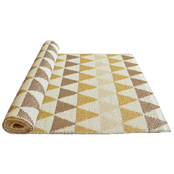 30% SALE! Triangle Rug Gold and pink