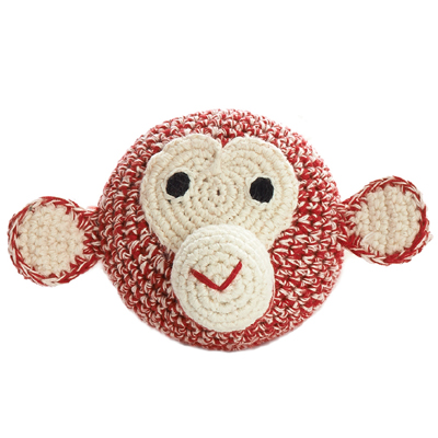 Mini Chimp Head Crochet (Red)