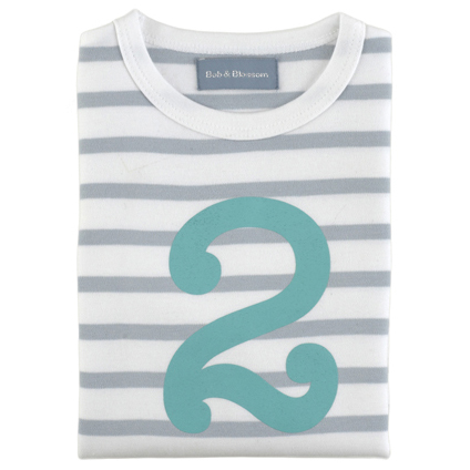 Grey & White Breton Striped Number 2 T Shirt (Turquoise)